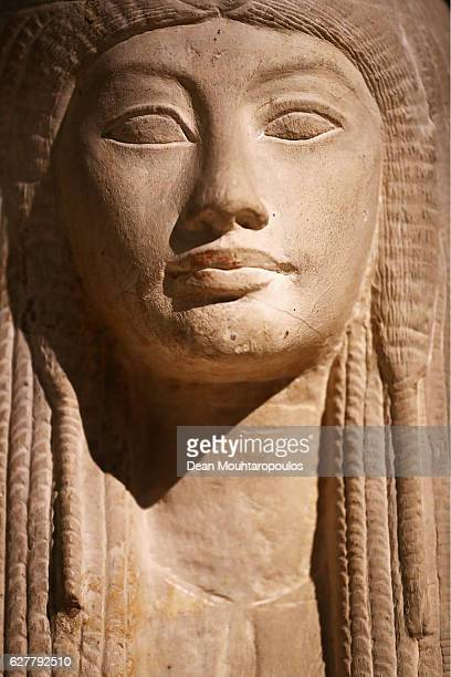 A detailed view of a Statue of Maya and Merit displayed in part in the permanent Egyptian collection and also part of the 'Queens of the Nile'...