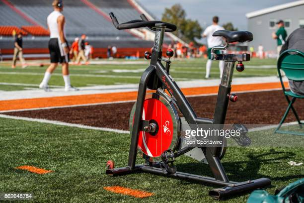 A detailed view of a Sunny exercise bike on the sidelines before a game between the Ohio Bobcats and the Bowling Green Falcons on October 14th 2017...