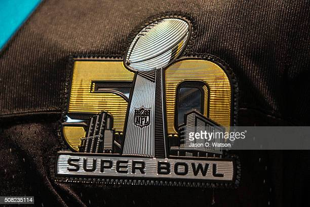 Detailed view of a Super Bowl 50 logo stitched on a Carolina Panthers uniform during the NFL Experience exhibition before Super Bowl 50 at the...