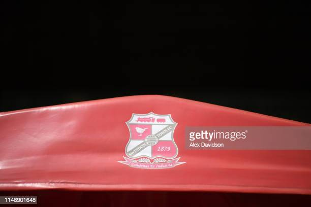Detailed view of a Swindon Town badge is seen prior to the Sky Bet League Two match between Swindon Town and Notts County at County Ground on May 04,...