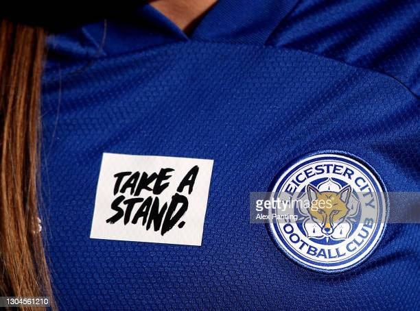 Detailed view of a 'Take A Stand' logo on the shirt of a Leicester City player during the Barclays FA Women's Championship match between Leicester...