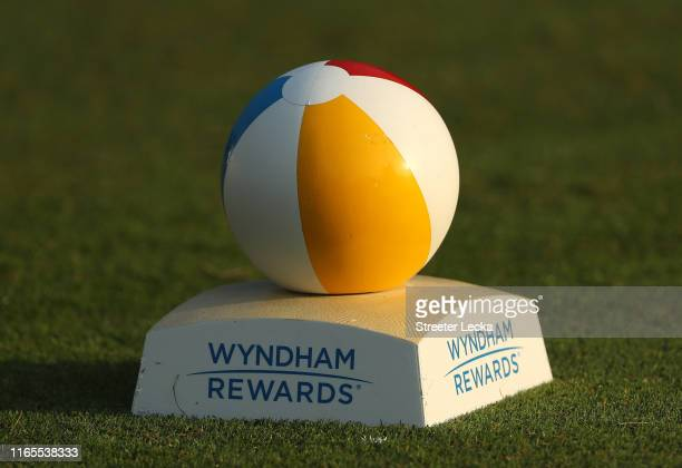 A detailed view of a tee marker during the first round of the Wyndham Championship at Sedgefield Country Club on August 01 2019 in Greensboro North...