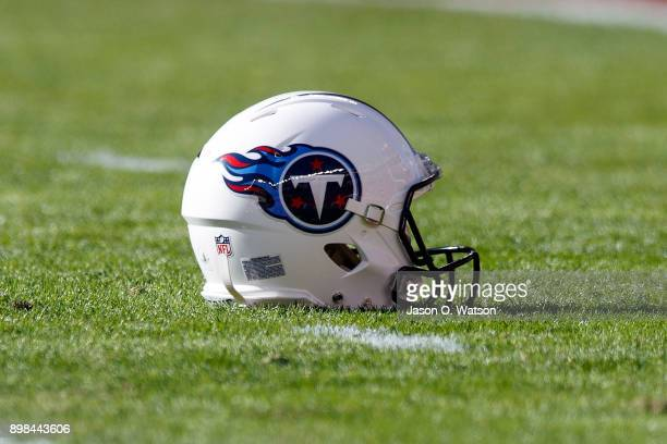 Detailed view of a Tennessee Titans helmet on the field before the game against the San Francisco 49ers at Levi's Stadium on December 17 2017 in...