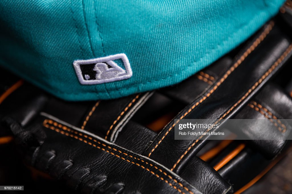 reputable site e1ff0 7f038 A detailed view of a throwback Florida Marlins hat sitting ...