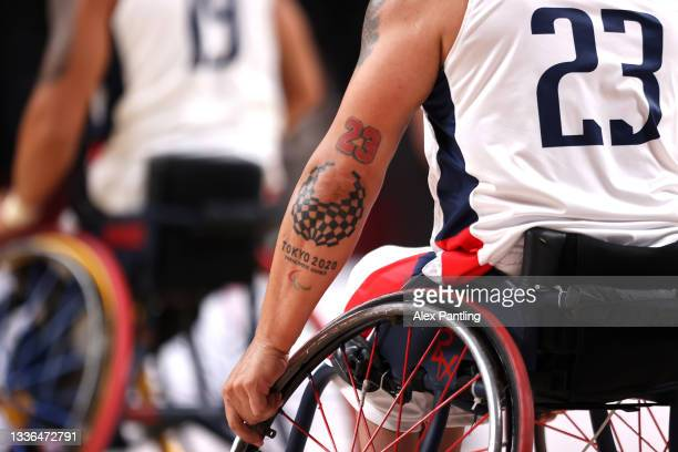 Detailed view of a Tokyo 2020 Paralympic logo tattoo onto the arm of Jhoan Vargas of Team Colombia during the Wheelchair Basketball Men's preliminary...