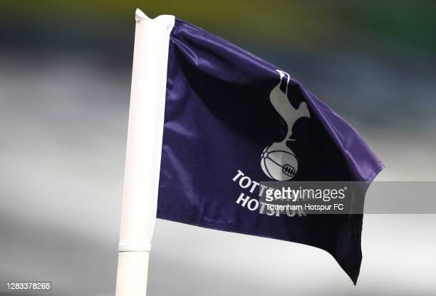 Detailed view of a Tottenham Hotspur corner flag is seen prior to the Premier League match between Tottenham Hotspur and Brighton & Hove Albion at...