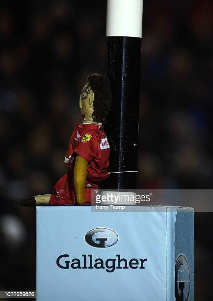 Detailed view of a toy attached to the posts during the Pre Season Friendly match between Bath and Scarlets at the Recreation Ground on August 24...