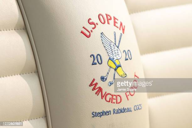 Detailed view of a U.S. Open Winged Foot logo is seen during a practice round prior to the 120th U.S. Open Championship on September 15, 2020 at...