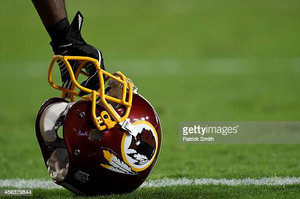 A detailed view of a Washington Redskins helmet before playing the New York Giants at FedExField on September 25 2014 in Landover Maryland