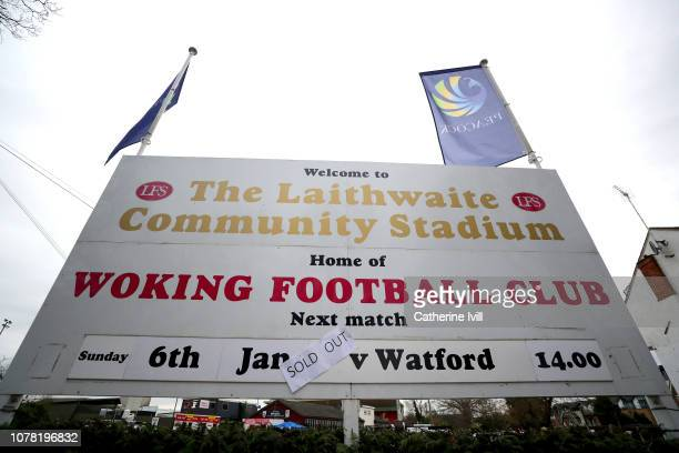 A detailed view of a welcome sign outside the stadium prior to the FA Cup Third Round match between Woking and Watford at Kingfield Stadium on...