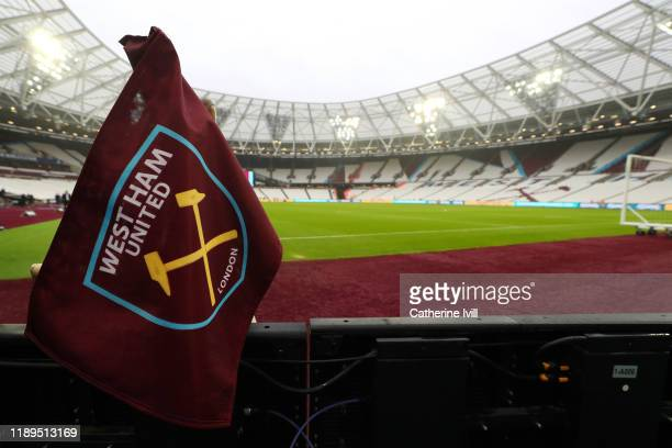 A detailed view of a West Ham United corner flag prior to the Premier League match between West Ham United and Tottenham Hotspur at London Stadium on...