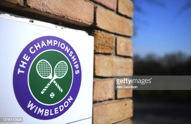 A detailed view of A Wimbledon Logo at The All England Tennis and Croquet Club best known as the venue for the Wimbledon Tennis Championships on...