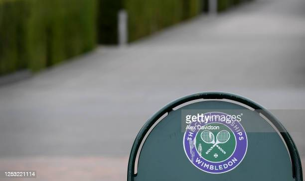 A detailed view of a Wimbledon Tennis Championship logo at The All England Tennis and Croquet Club on June 29 2020 in Wimbledon England The Wimbledon...