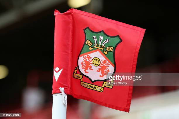 Detailed view of a Wrexham corner flag is seen during the Vanarama National League match between Wrexham and Aldershot Town at Racecourse Ground on...