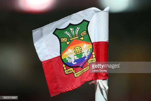 Detailed view of a Wrexham corner flag is seen prior to the Vanarama National League match between between Wrexham and Woking at Racecourse Ground on...
