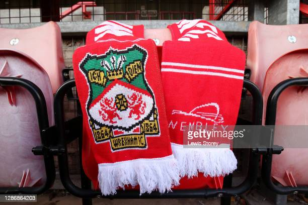 Detailed view of a Wrexham scarf is seen during the Vanarama National League match between Wrexham and Aldershot Town at Racecourse Ground on...