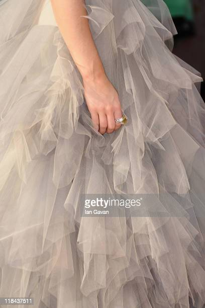 A detailed view of Actress Emma Watson's ring as she attends the World Premiere of Harry Potter and The Deathly Hallows Part 2 at Trafalgar Square on...