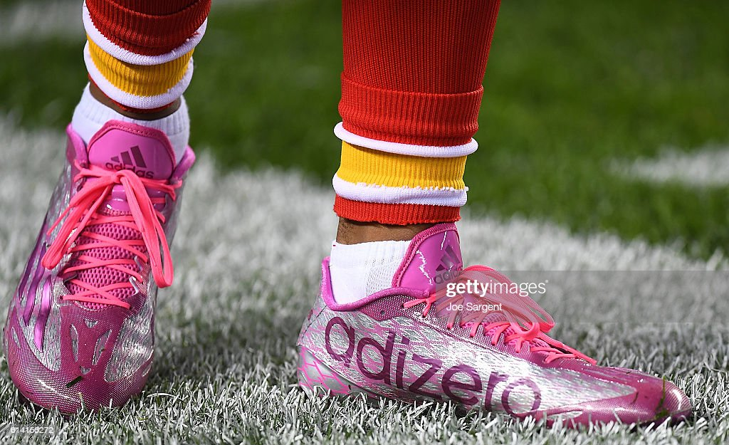 A detailed view of Adidas shoes worn by Marcus Peters of the