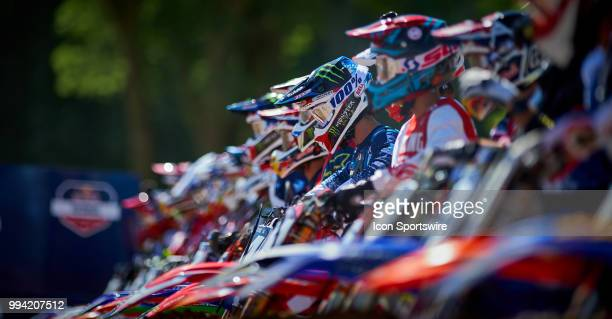 A detailed view of all the riders of all the MX bikes at the starting line of the 250 Class Moto in action during the 2018 Red Bull RedBud National...
