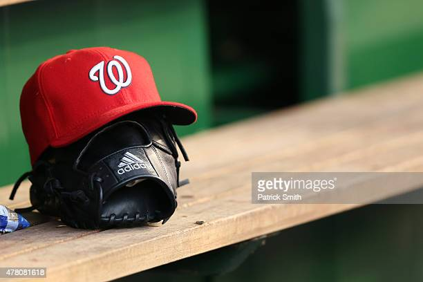 A detailed view of an Adidas baseball glove at Nationals Park on June 19 2015 in Washington DC