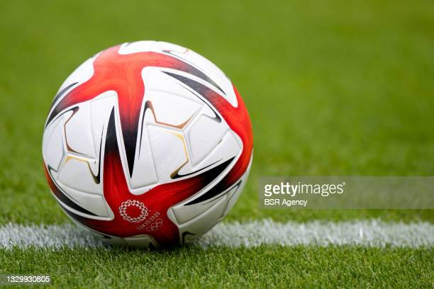 Detailed view of an Adidas Olympic football during the Tokyo 2020 Olympic Football Tournament match between China and Brazil at Miyagi Stadium on...