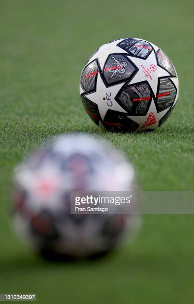 Detailed view of an Adidas UEFA Champions League ball seen on the pitch prior to the UEFA Champions League Quarter Final Second Leg match between...