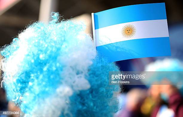 Detailed view of an Argentina flag in a fans hair ahead of the 2015 Rugby World Cup Pool C match between Argentina and Namibia at Leicester City...