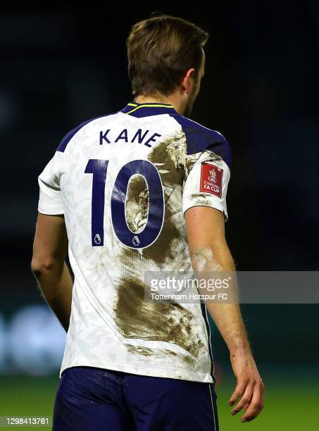 Detailed view of an Emirates FA Cup Logo on the shirt of Harry Kane of Tottenham Hotspur during The Emirates FA Cup Fourth Round match between...