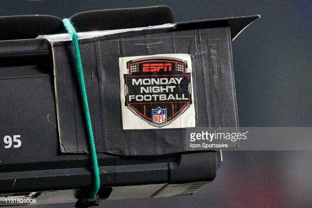 A detailed view of an ESPN Monday Night Football logo is seen on a broadcast TV camera during the NFL game between the New York Giants and the San...