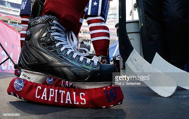 A detailed view of an ice hockey skate and blade cover during practice day prior to the 2015 Bridgestone NHL Winter Classic on December 31 2014 in...