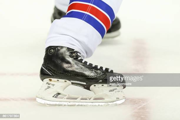 Detailed view of an ice skate during the first period in a game between the Columbus Blue Jackets and the New York Rangers on October 13 at...