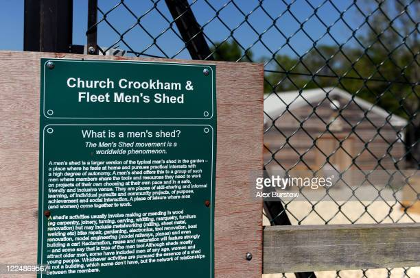 A detailed view of an information sign at the entrance to the Church Crookham and Fleet Men's Shed on May 06 2020 in Church Crookham England...