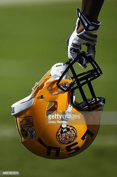 A detailed view of an LSU Tigers helmet prior to a game against the Mississippi State Bulldogs at Davis Wade Stadium on September 12 2015 in...