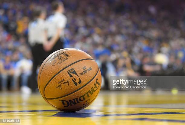 A detailed view of an NBA Spalding Basketball during an NBA basketball game between the Chicago Bulls and Golden State Warriors at ORACLE Arena on...