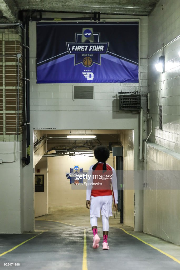 A detailed view of an NCAA First Four banner above the entrance ramp to Blackburn Court before a game between the Dayton Flyers and the George Mason Patriots on February 21, 2018 at University of Dayton Arena in Dayton, OH.