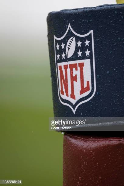 Detailed view of an NFL logo before the game between the Washington Football Team and the Dallas Cowboys at FedExField on October 25, 2020 in...