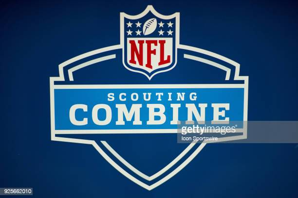 A detailed view of an NFL Scouting Combine logo is seen during the NFL Scouting Combine on February 28 2018 at Lucas Oil Stadium in Indianapolis IN