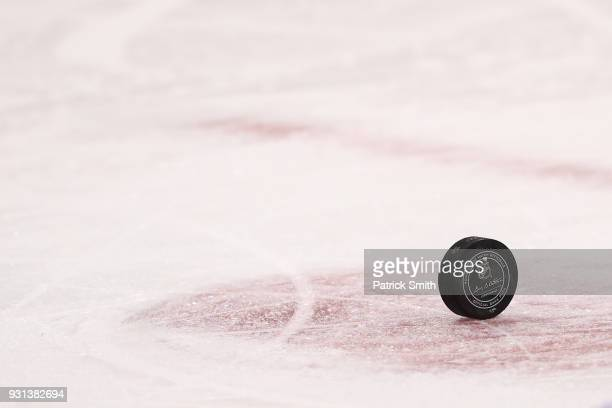 A detailed view of an NHL puck during the third period at Capital One Arena on March 12 2018 in Washington DC