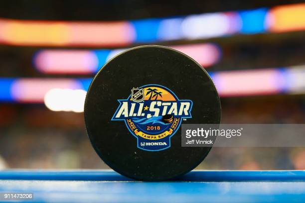 A detailed view of an official game puck is seen during the 2018 Honda NHL AllStar Game at Amalie Arena on January 28 2018 in Tampa Florida