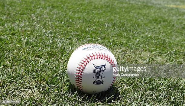 A detailed view of an official Rawlings TMobile Home Run Derby baseball sitting on the field during batting practice prior to the 87th MLB AllStar...
