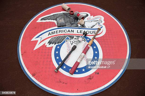 A detailed view of an on deck circle with various batting implements before the game between the Cleveland Indians and the Los Angeles Angels of...