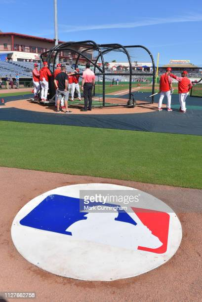 A detailed view of an ondeck circle with the Major League Baseball logo prior to the Spring Training game between the Detroit Tigers and the...