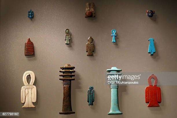 Detailed view of art or recovered pieces displayed in part in the permanent Egyptian collection and also part of the 'Queens of the Nile' Exhibition...