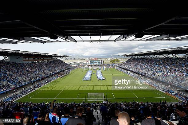 A detailed view of Avaya Stadium prior to an MLS game between the Chicago Fire and San Jose Earthquakes at Avaya Stadium on March 22 2015 in San Jose...