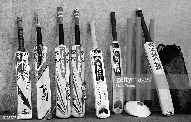 Detailed view of bats and practice stumps during the Western Storm England Player Announcement at the County Ground on April 6 2016 in Taunton England