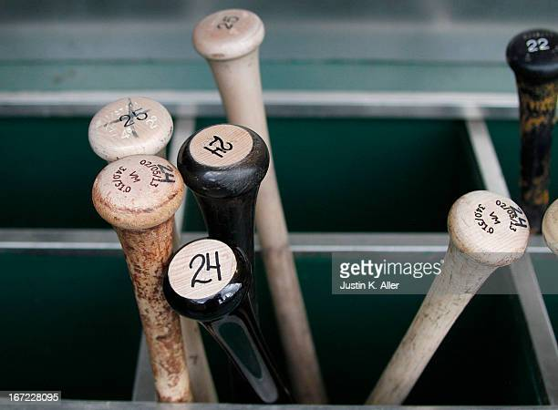 A detailed view of bats before the game between the Pittsburgh Pirates and the Atlanta Braves on April 18 2013 at PNC Park in Pittsburgh Pennsylvania