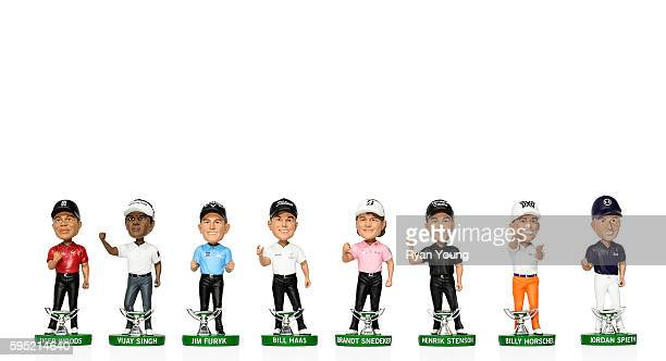 A detailed view of bobbleheads of past FedEx Cup champions from left to right Tiger Woods Vijay Singh Jim Furyk Bill Haas Brandt Snedeker Henrik...