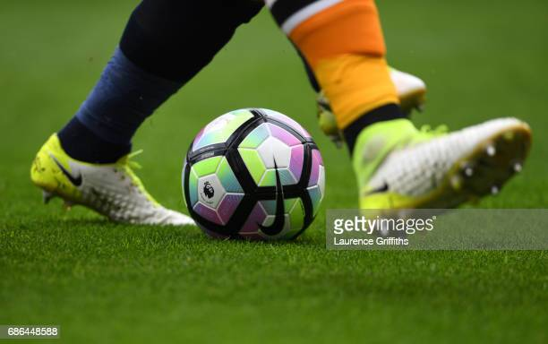 A detailed view of Boots and ball during the Premier League match between Hull City and Tottenham Hotspur at KC Stadium on May 21 2017 in Hull England