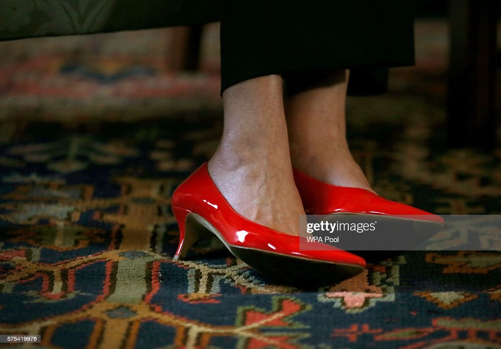 A detailed view of British Prime Minister Theresa May's shoes as she meets First Minister Nicola Sturgeon at Bute House on July 15, 2016 in Edinburgh, Scotland. Prime Minister flew in for Brexit talks with the First Minister, and is expected to express that she wants the Scottish Government to play a key role in negotiations with the EU.
