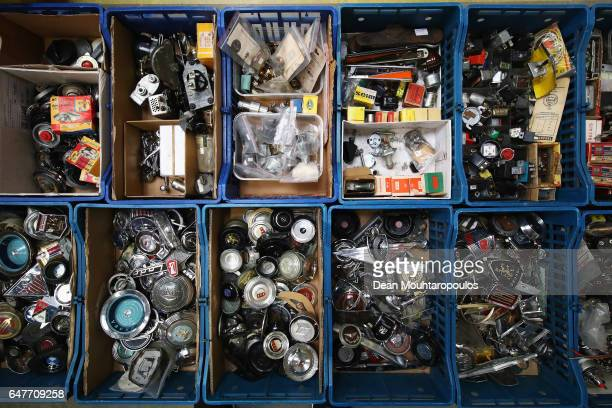 A detailed view of car parts during the The 40th Antwerp Classic Salon run by SIHA Salons Automobiles and held at Antwerp EXPO Halls on March 3 2017...